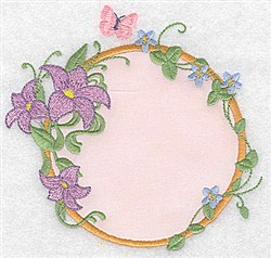 Lilies & Butterfly Applique embroidery design