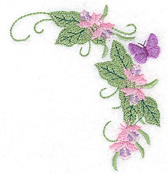 Butterfly & Blossom Corner embroidery design