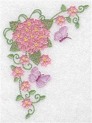 Hydrangea & Butterfy Corner embroidery design