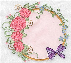 Roses & Bow Applique embroidery design