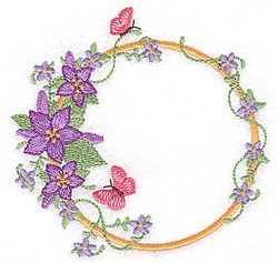 Flowers & Butterflies Circle embroidery design