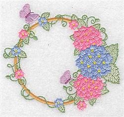 Hydrangea & Butterflies embroidery design