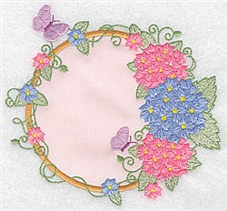 Hydrangea  & Butterfly Applique embroidery design