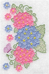 Hydrangea and Butterfly embroidery design