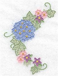 Hydrangea & Blossoms Corner embroidery design