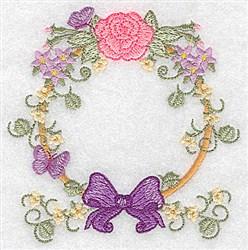 Rose, Bow & Butterflies circular embroidery design