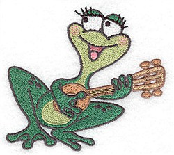 Frog with Guitar embroidery design