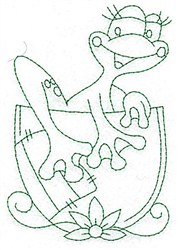 Frog In Cup Bluework embroidery design