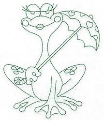 Frog & Umbrella Bluework embroidery design