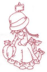 Girl & Pumpkins embroidery design