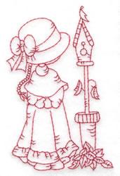 Girl & Birdhouse embroidery design
