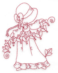 Girl Stringing Leaves embroidery design