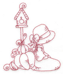 Girl & Birdhouse embroidery design
