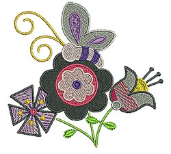 Flowers Butterfly embroidery design
