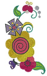 Flowers Fly embroidery design