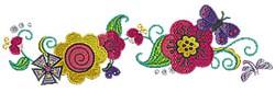 Flower Border Butterfly embroidery design