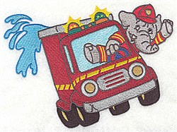 Elephant Fireman embroidery design