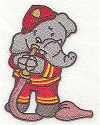 Fireman Elephant embroidery design