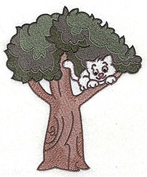 Kitten In Tree embroidery design