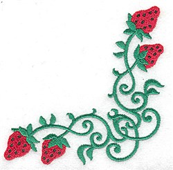 Strawberry corner embroidery design