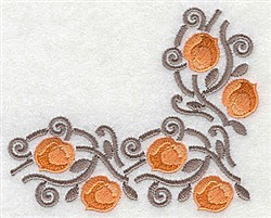 Apricot corner embroidery design