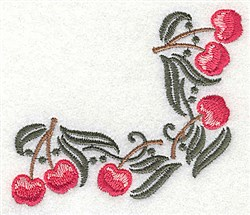 Cherry corner embroidery design