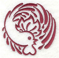 Rooster Circle embroidery design