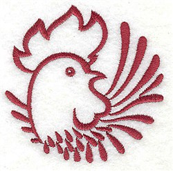 Rooster Head embroidery design