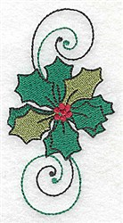 Holly with Swirls embroidery design