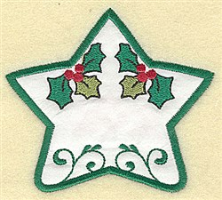 Holly Star Applique embroidery design