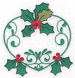 Holly Heart embroidery design