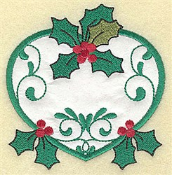 Holly Heart Applique embroidery design