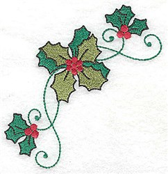 Holly Swirl Corner embroidery design