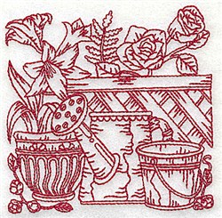 Watering Can & Flowers embroidery design