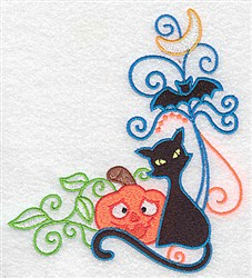 Cat & Bat Corner embroidery design