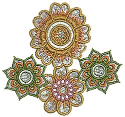 Henna Blossoms embroidery design