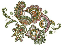 Henna Paisley Flowers embroidery design