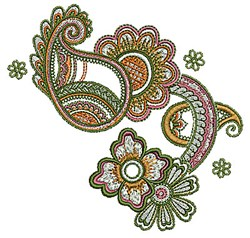 Henna Floral Paisley embroidery design
