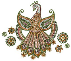 Henna Peacock embroidery design