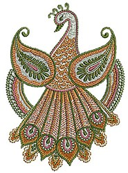 Henna Bird Peacock embroidery design