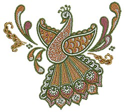 Peacock Henna embroidery design