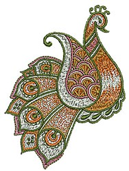 Henna Paisley Peacock embroidery design