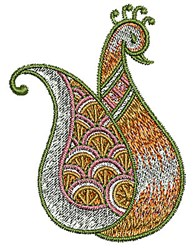 Paisley Bird Henna embroidery design
