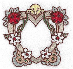 Ladybug Heart embroidery design