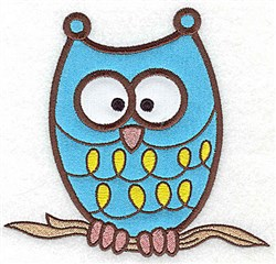 Owl double applique embroidery design