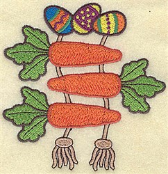 Easter Eggs and Carrots embroidery design