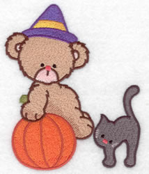 Witch Bear & Black Cat embroidery design