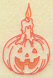 Pumpkin with Candle embroidery design