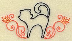 Black Cat Outline embroidery design