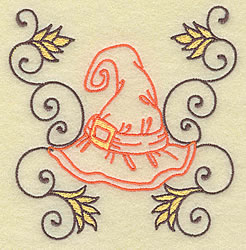 Witches Hat with Swirls embroidery design